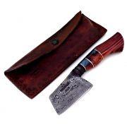 Faca artesanal charuteira forjada em aço de damasco padrão aleatório modificado 3 polegadas jamon sky