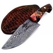 Faca artesanal de caça forjada em aço de damasco padrão aleatório modificado 5 polegadas