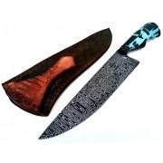 Faca artesanal forjada acqua blue aço de damasco 8 polegadas