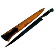 Faca artesanal forjada full tang língua de chimango negra 14 polegadas