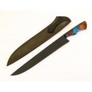 Faca artesanal forjada negra aço carbono  cabo híbrido azul 12 polegadas