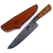 Faca artesanal gaúcha forjada em aço de damasco cabo radica de imbuia