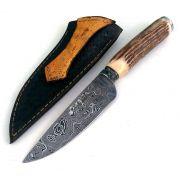 Faca artesanal gaúcha forjada em aço de damasco padrão aleatório modificado 6 polegadas