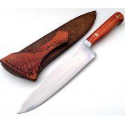 Faca forjada artesanal inox full tang  chef tulip wood 08 polegadas