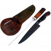 Kit artesanal faca forjada e chaira