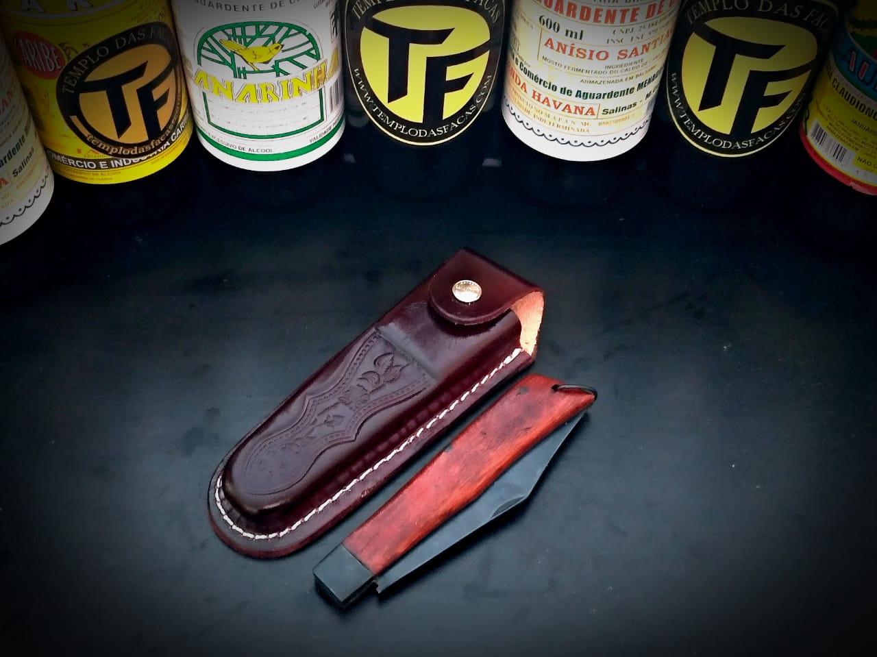 Canivete artesanal em aço carbono e cabo Conduru de sangue