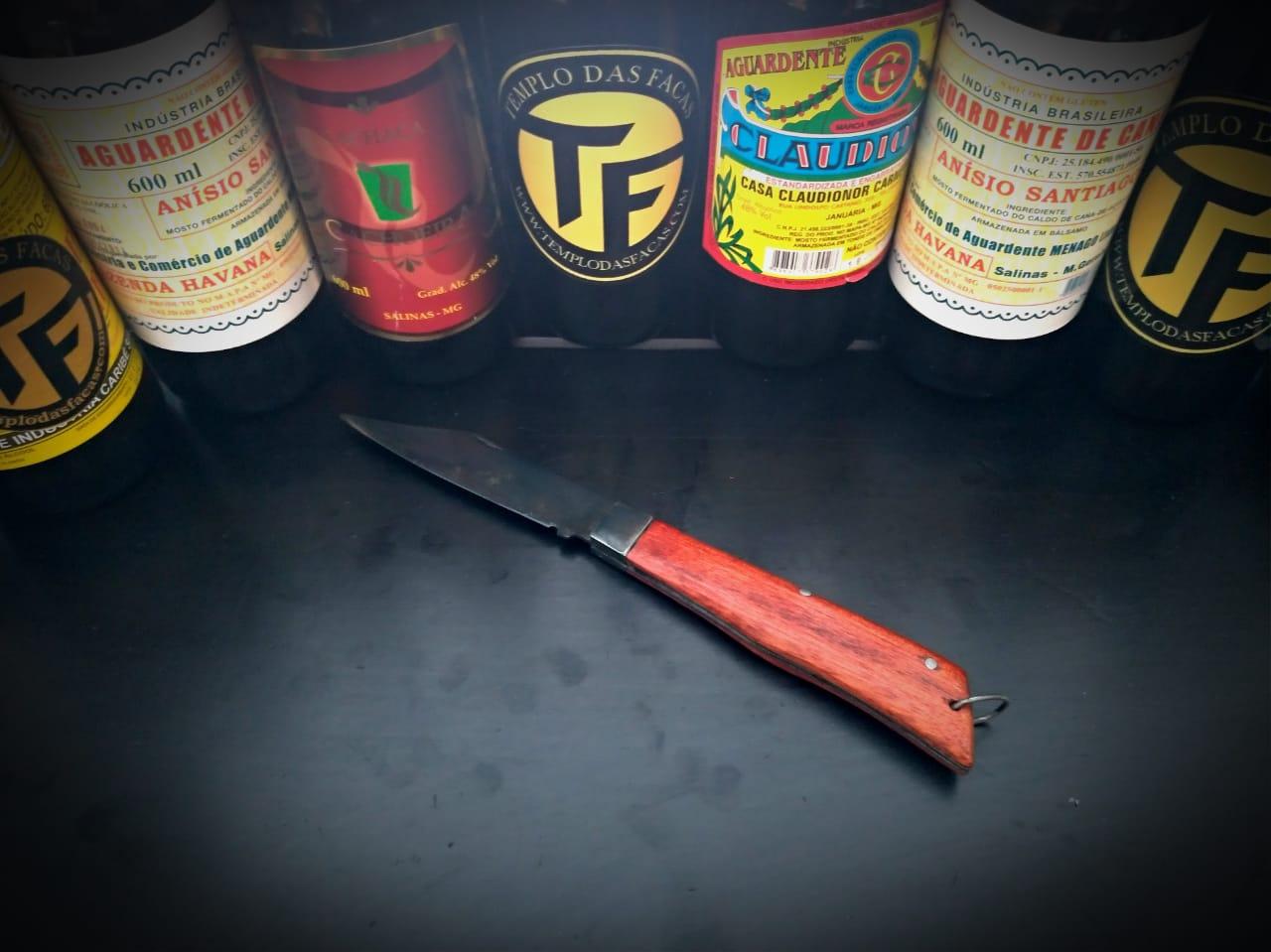 Canivete artesanal em aço carbono e cabo Pau Conduru de Sangue