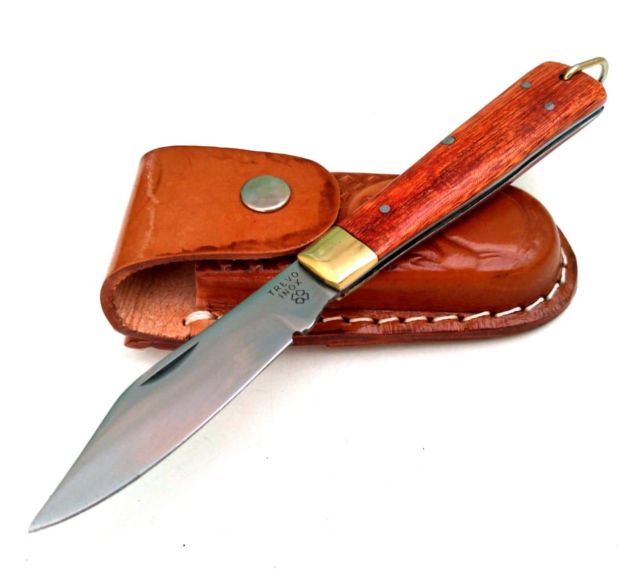 Canivete artesanal esportivo em aço inox e cabo em cabreúva