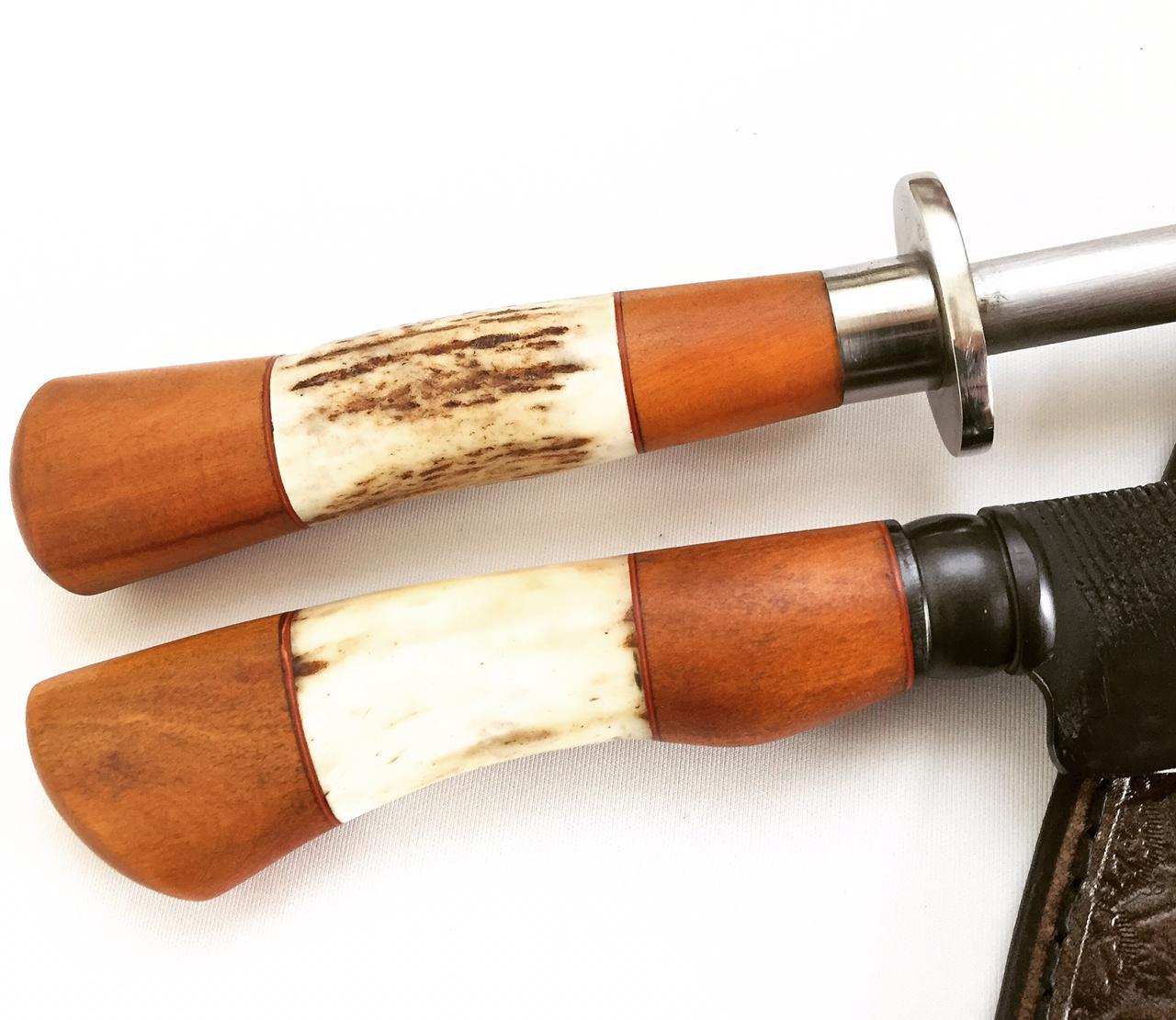 Conjunto artesanal forjado faca de lima e chaira
