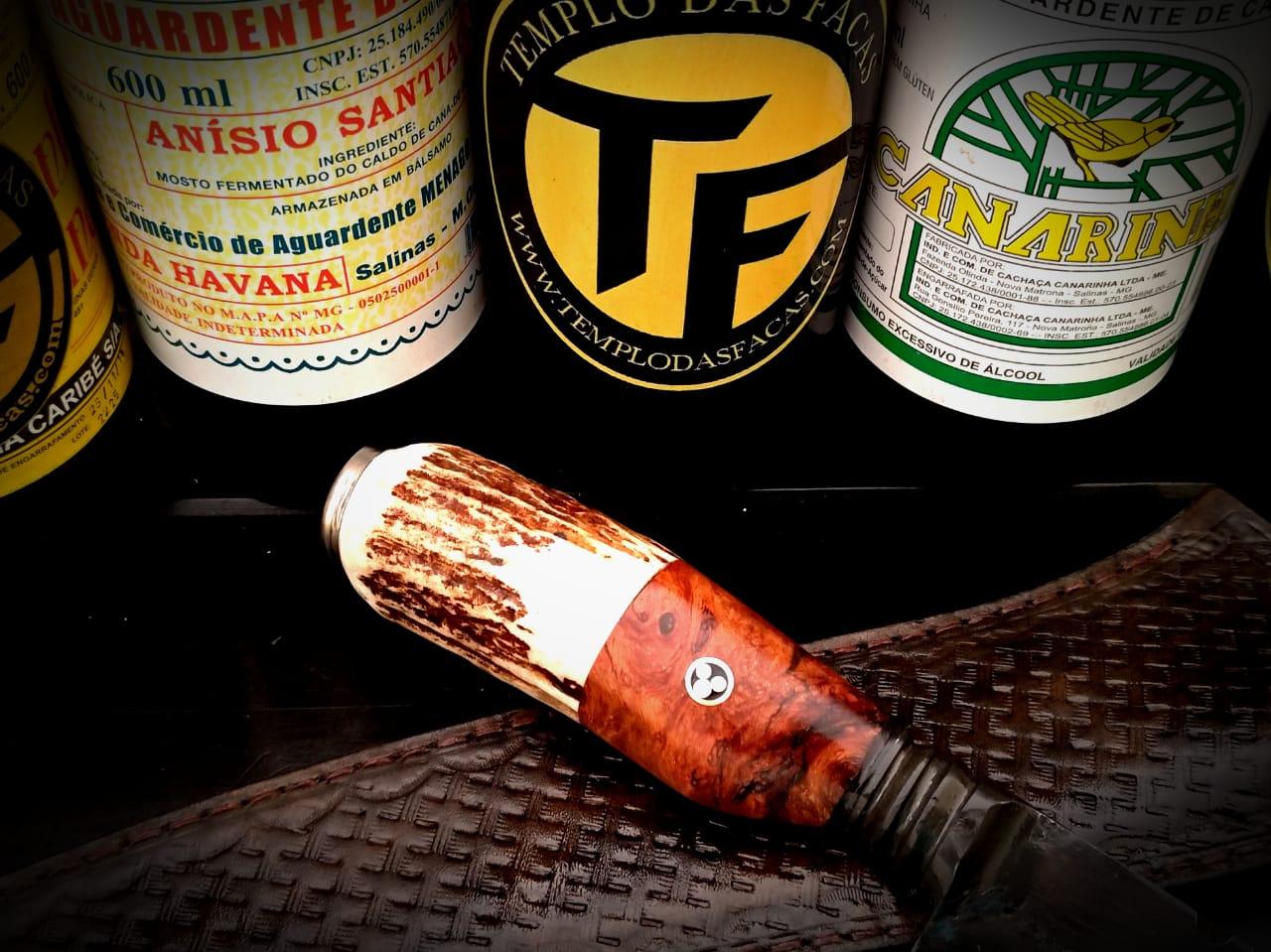Faca artesanal forjada zaino  cabo burl maple e cervo 10 polegadas
