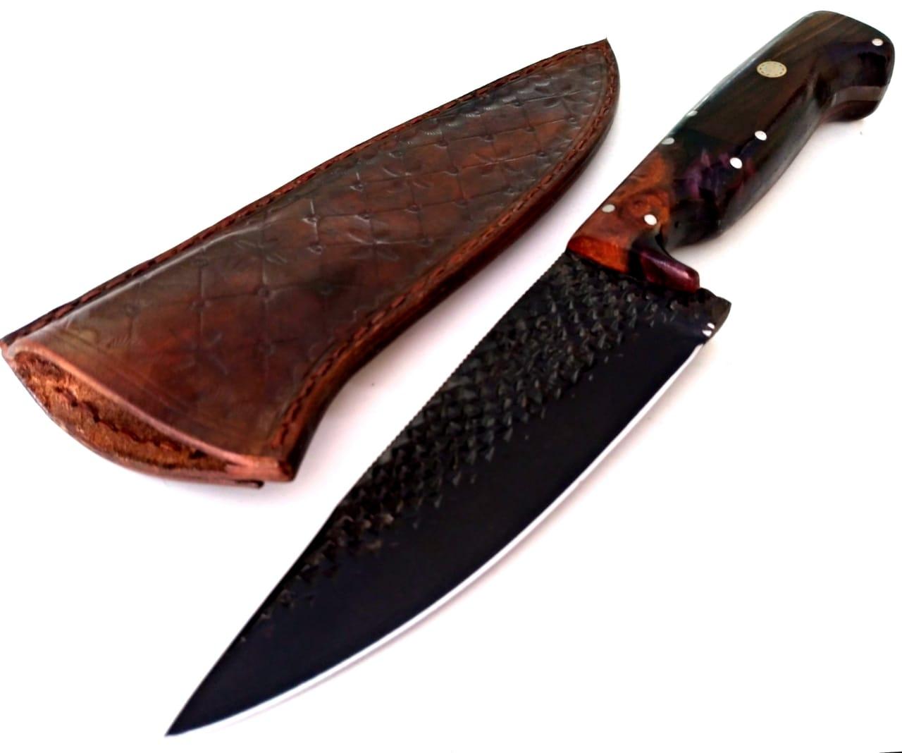 Faca artesanal negra forjada de antiga grosa de casquear full tang 6 polegadas