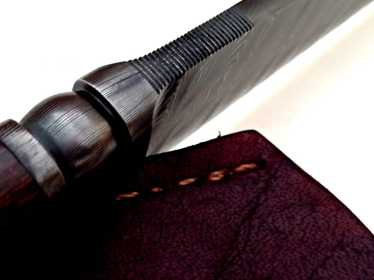 Faca artesanal forjada aço damasco 10 polegadas