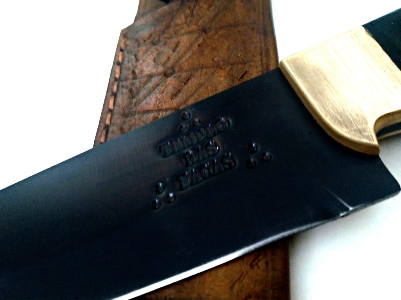 Faca artesanal butcher negra aço carbono 12 polegadas