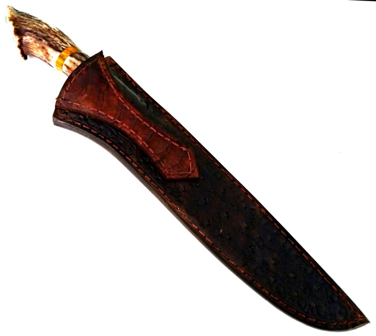 Faca artesanal campeira forjada em aço de damasco axis coroado 8 polegadas