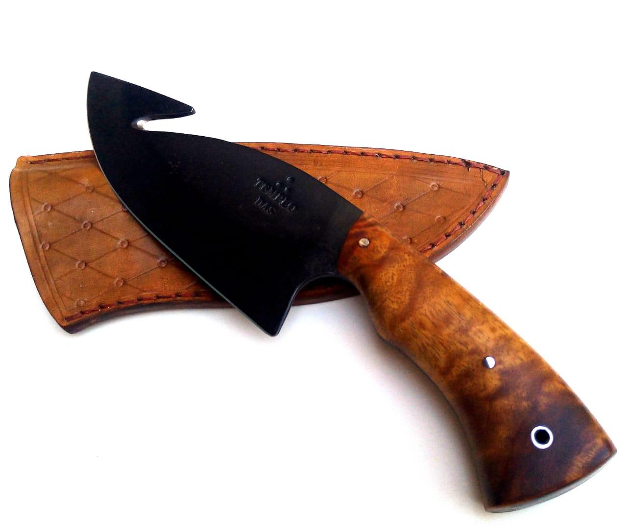 Faca artesanal coreadeira forjada em aço carbono 6 polegadas