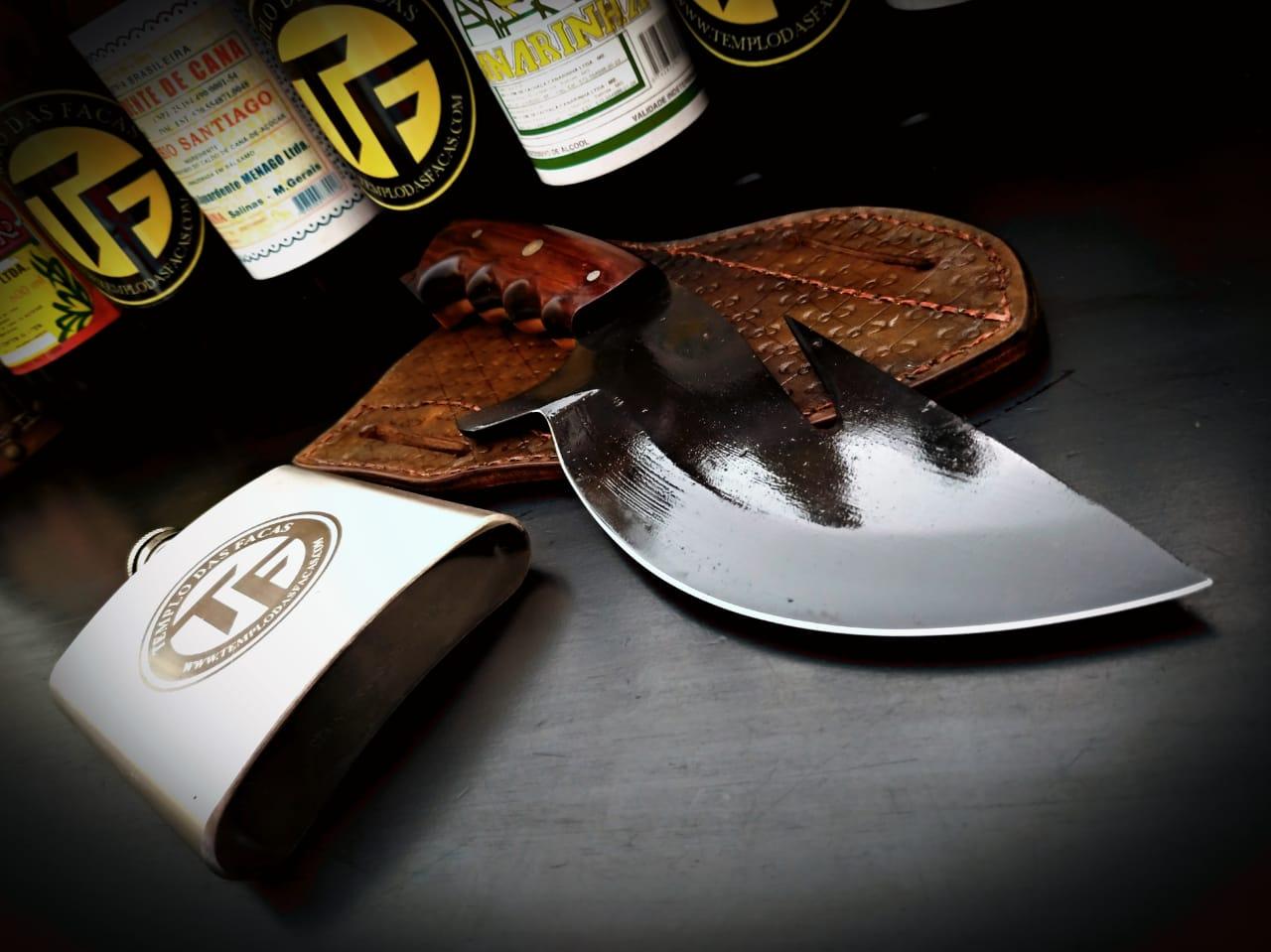 Faca artesanal coreadeira forjada verraco wood griping