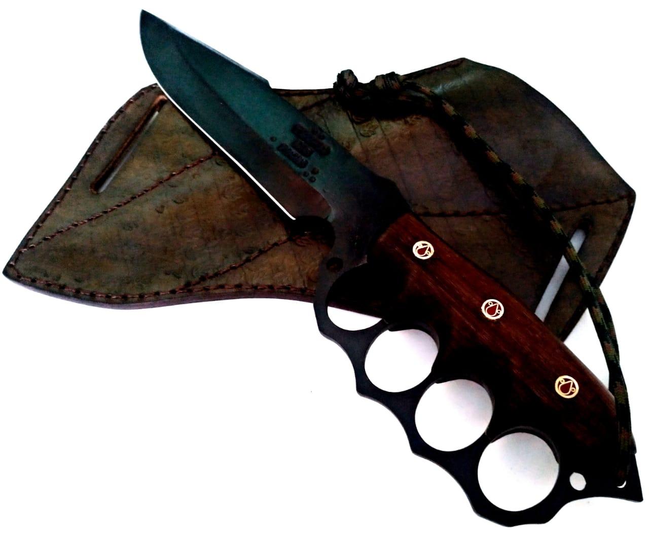 Faca artesanal de combate black knockout 7 polegadas