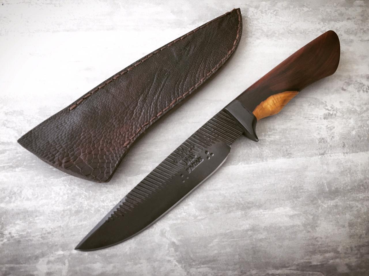 Faca artesanal esportiva hunter forjada de lima antiga 6 polegadas