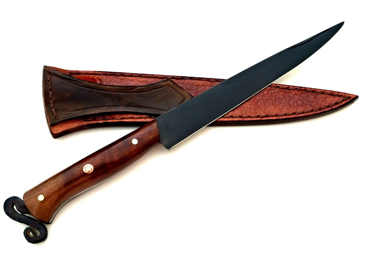 Faca artesanal forjada de lima antiga 7 polegadas