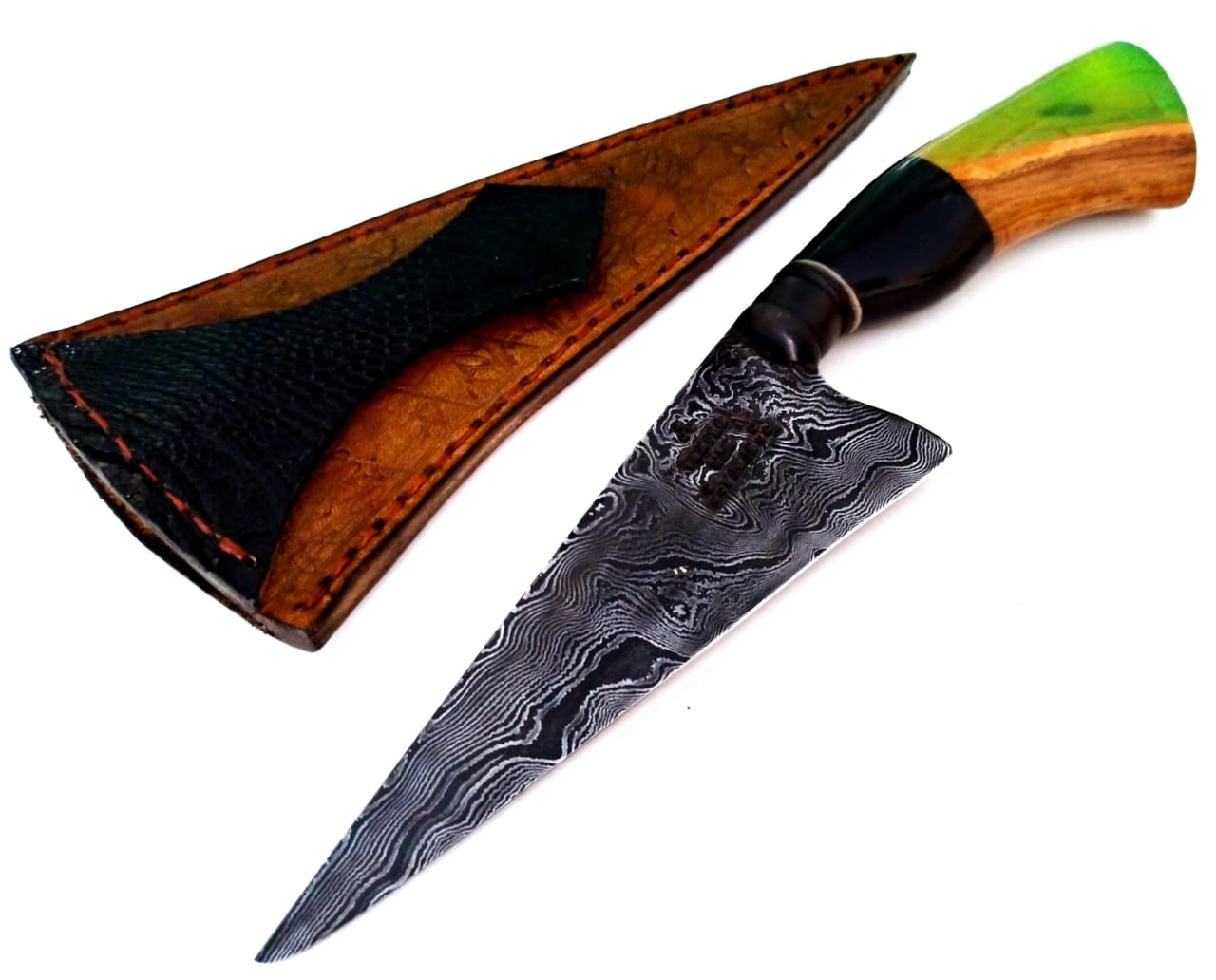 Faca artesanal forjada em aço de damasco padrão aleatório modificado estilo tesoura