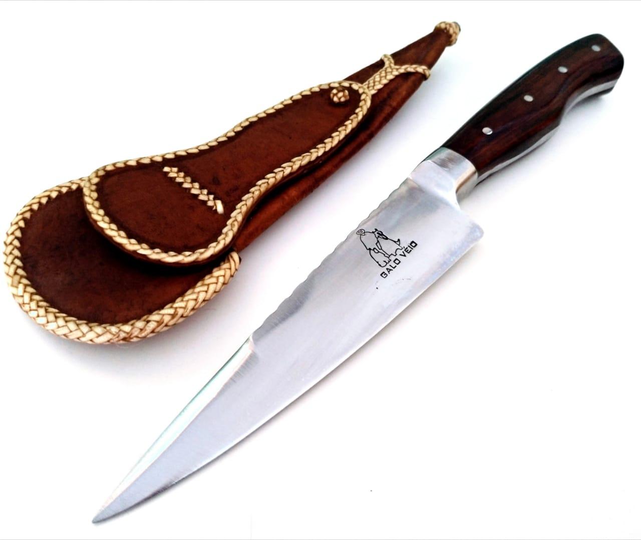 Faca artesanal forjada full tang 6 polegadas galo véio