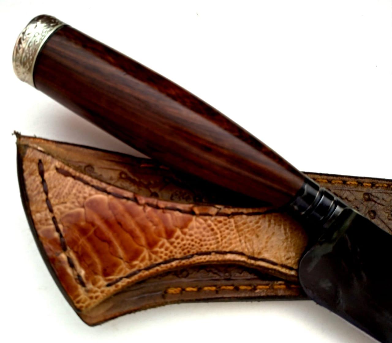 Faca artesanal forjada negra aço carbono Bugre Da Campanha 11 polegadas