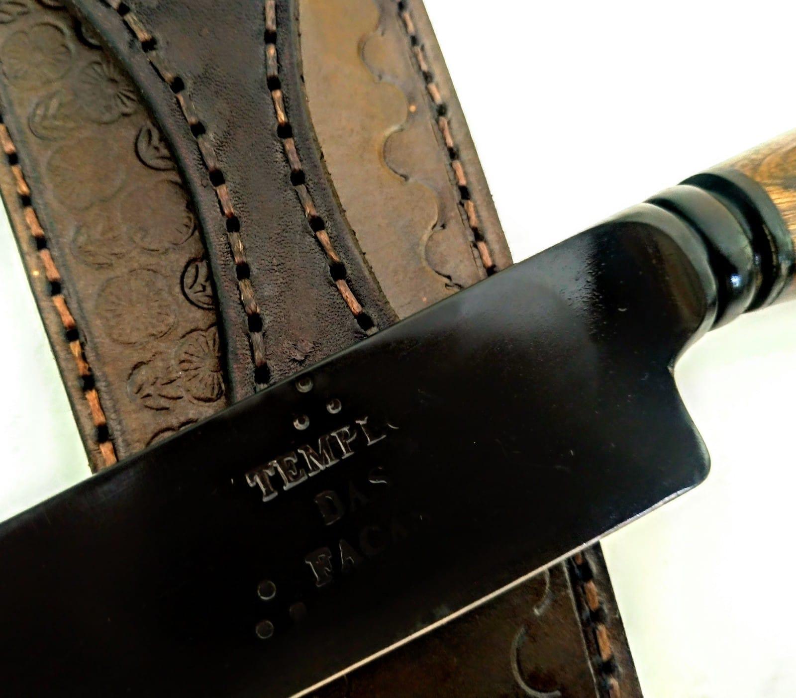 Faca artesanal forjada negra aço carbono cabo burl de imbuia 10 polegadas