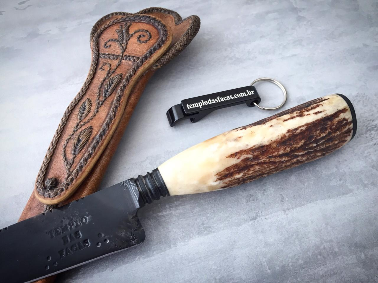 Faca artesanal forjada negra aço carbono cervo 10 polegadas