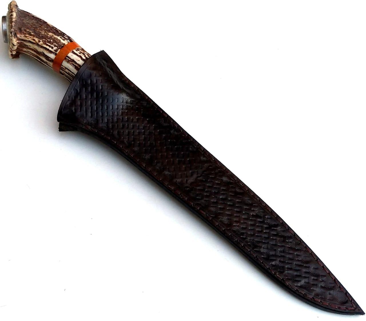 Faca artesanal forjada negra aço carbono  cervo axis coroado 10 polegadas