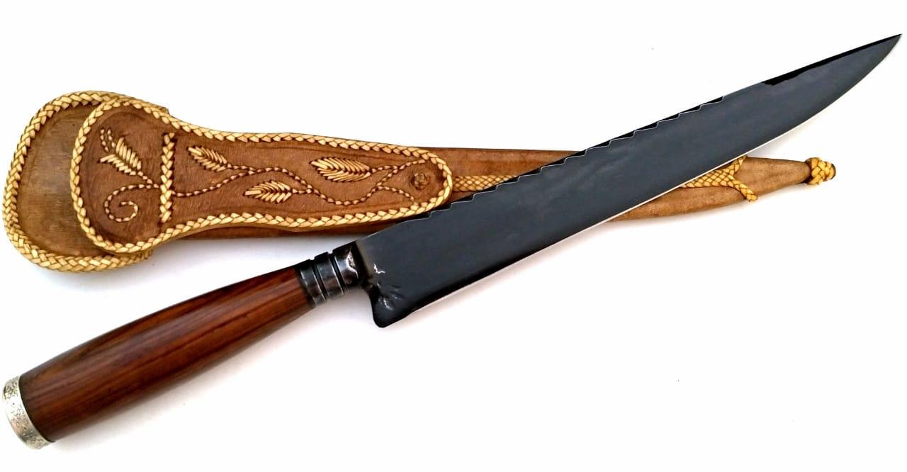 Faca artesanal forjada negra aço carbono Ginete da Querência 10 polegadas