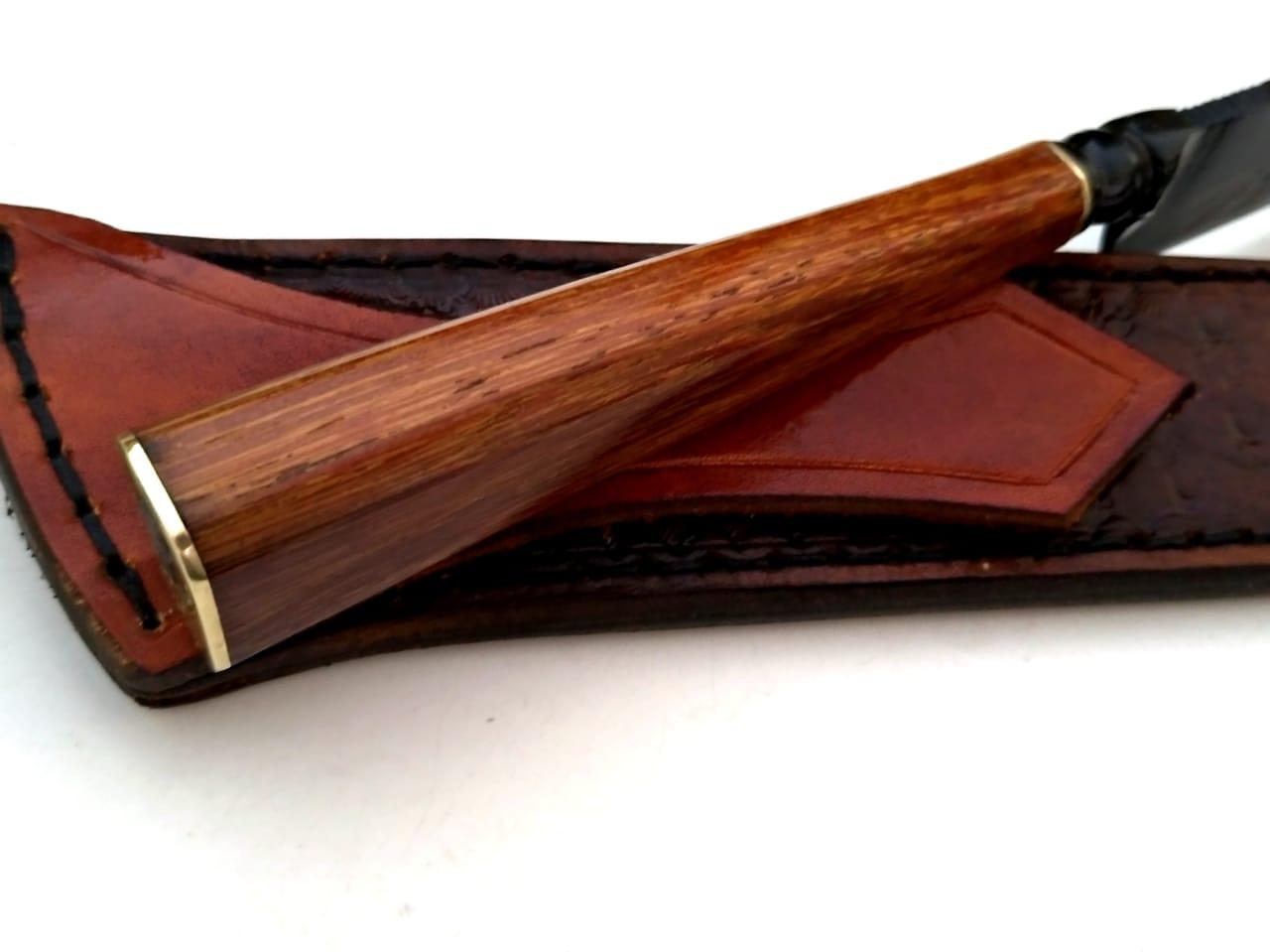 Faca artesanal forjada negra aço carbono língua de chimango 10  polegadas