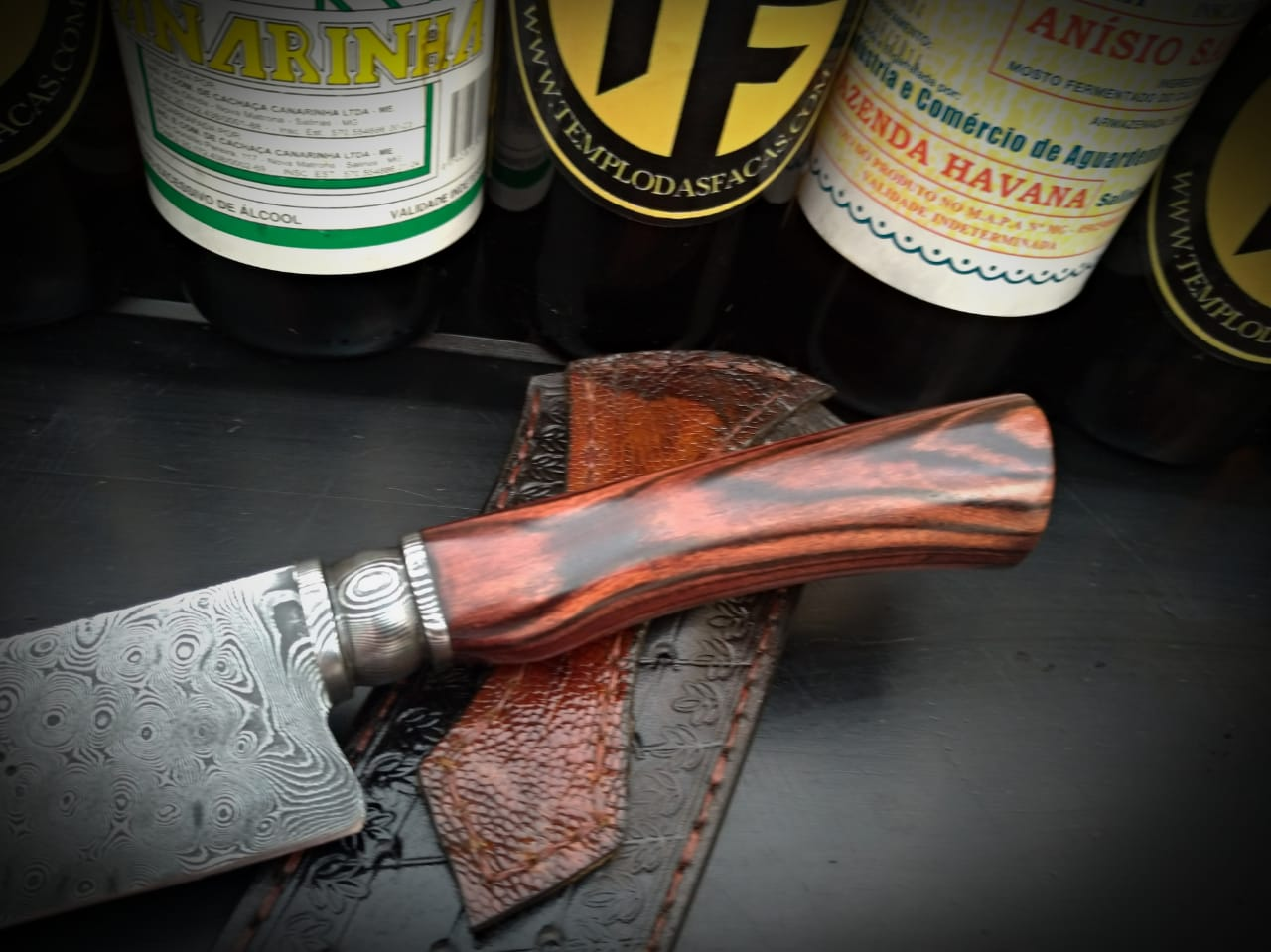 Faca artesanal forjada raindrop violet aço de damasco 8 polegadas
