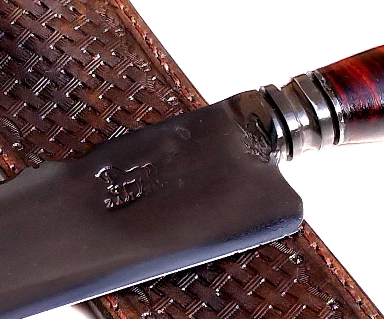 Faca artesanal forjada zaino  cabo conduru e cervo 10 polegadas