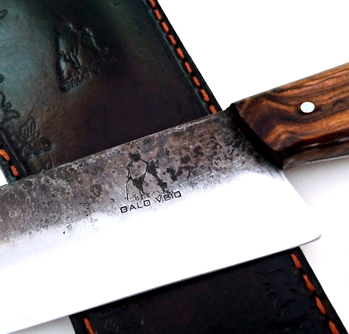Faca artesanal galo veio de lida aço carbono 12 polegadas