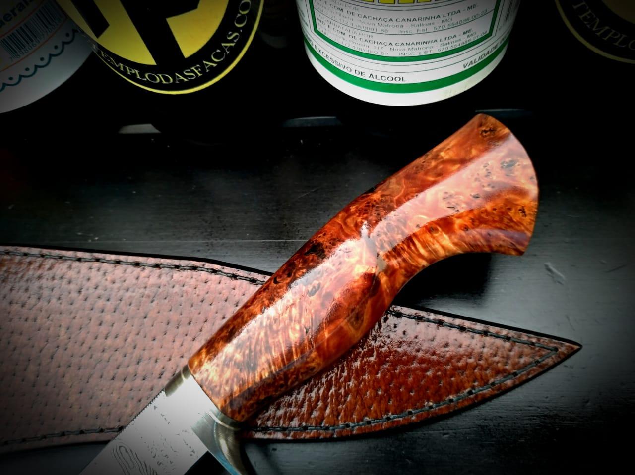 Faca artesanal hunter forjada em aço de damasco ladder modificado burl maple 06 polegadas