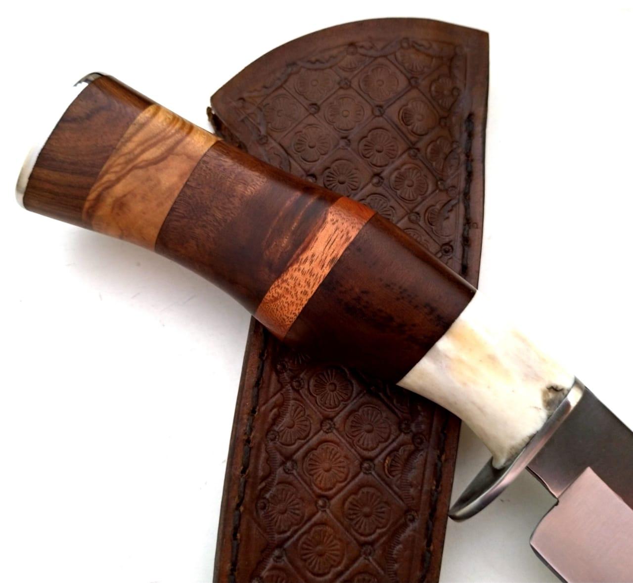 Faca artesanal inox Bowie Axis Mix Wood
