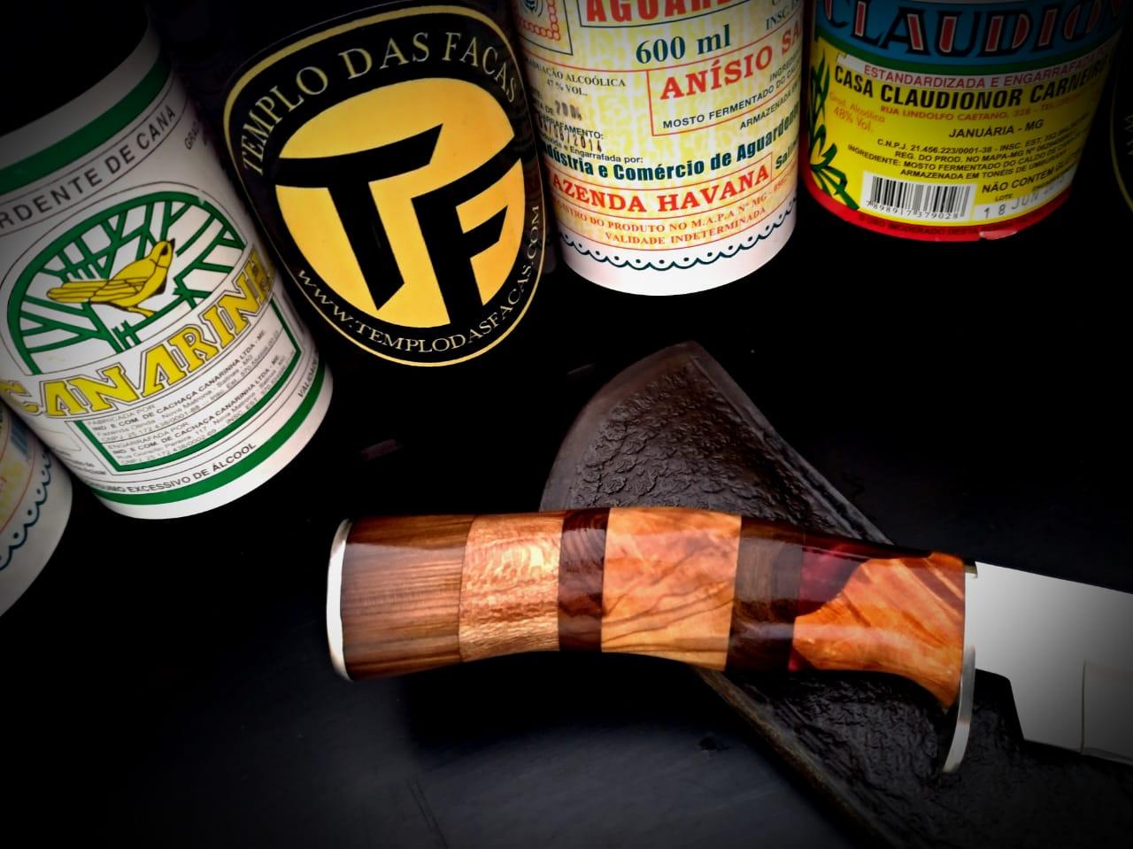 Faca artesanal inox Hunter Violet Mix Wood
