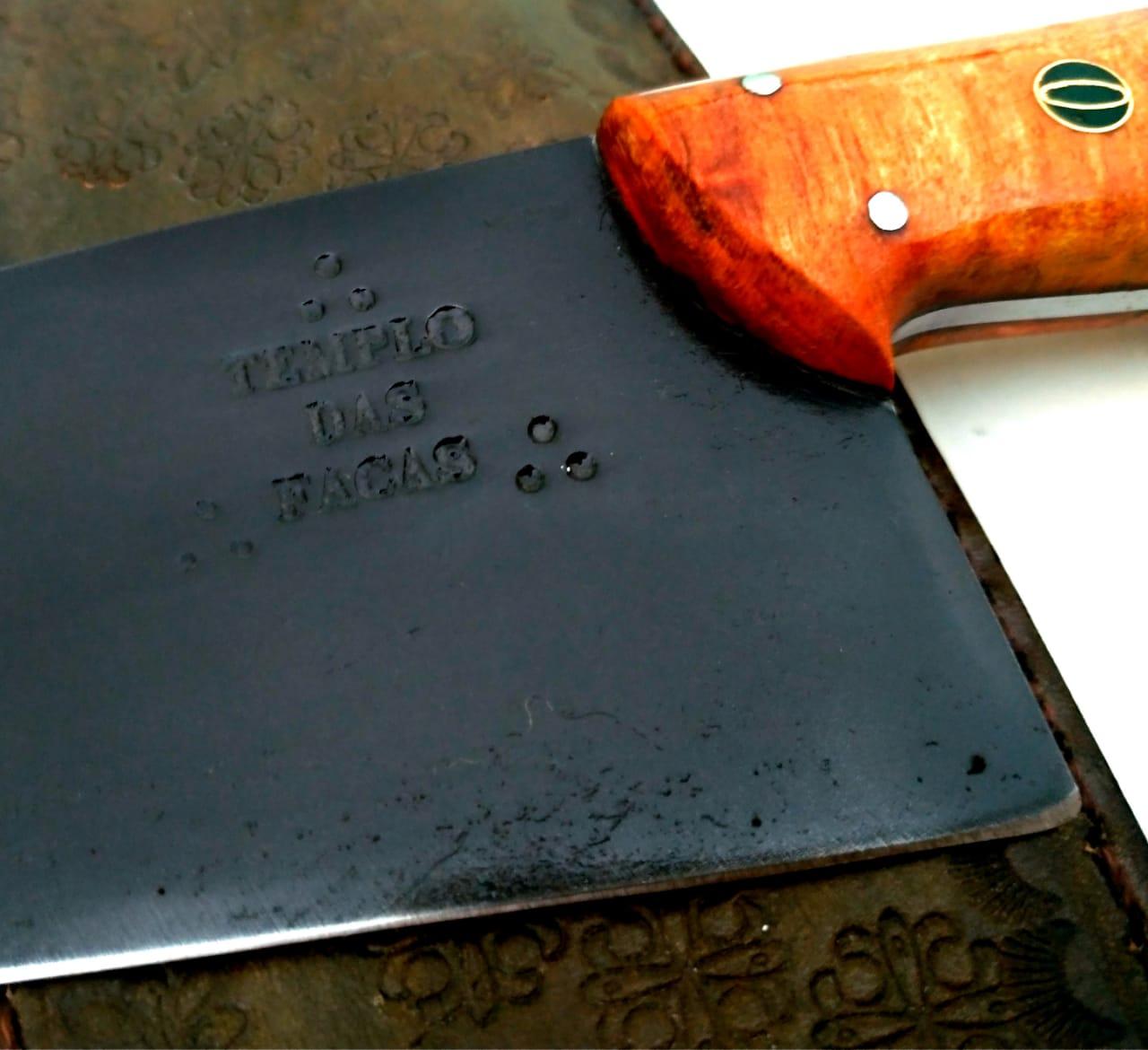 Faca artesanal negra aço carbono chef absolut 08 polegadas
