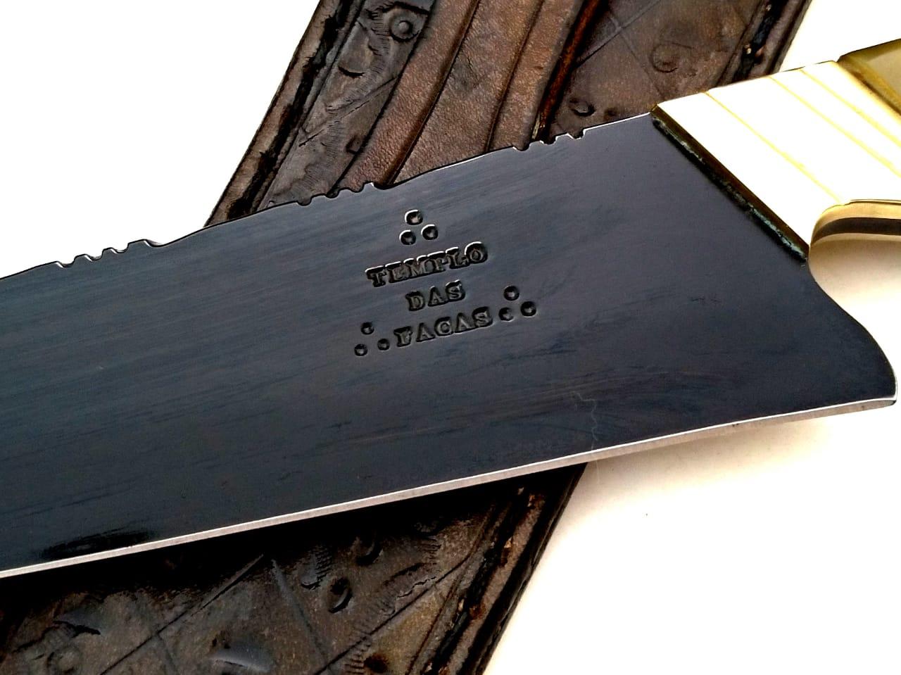 Faca artesanal negra bicuda do seival 08 polegadas