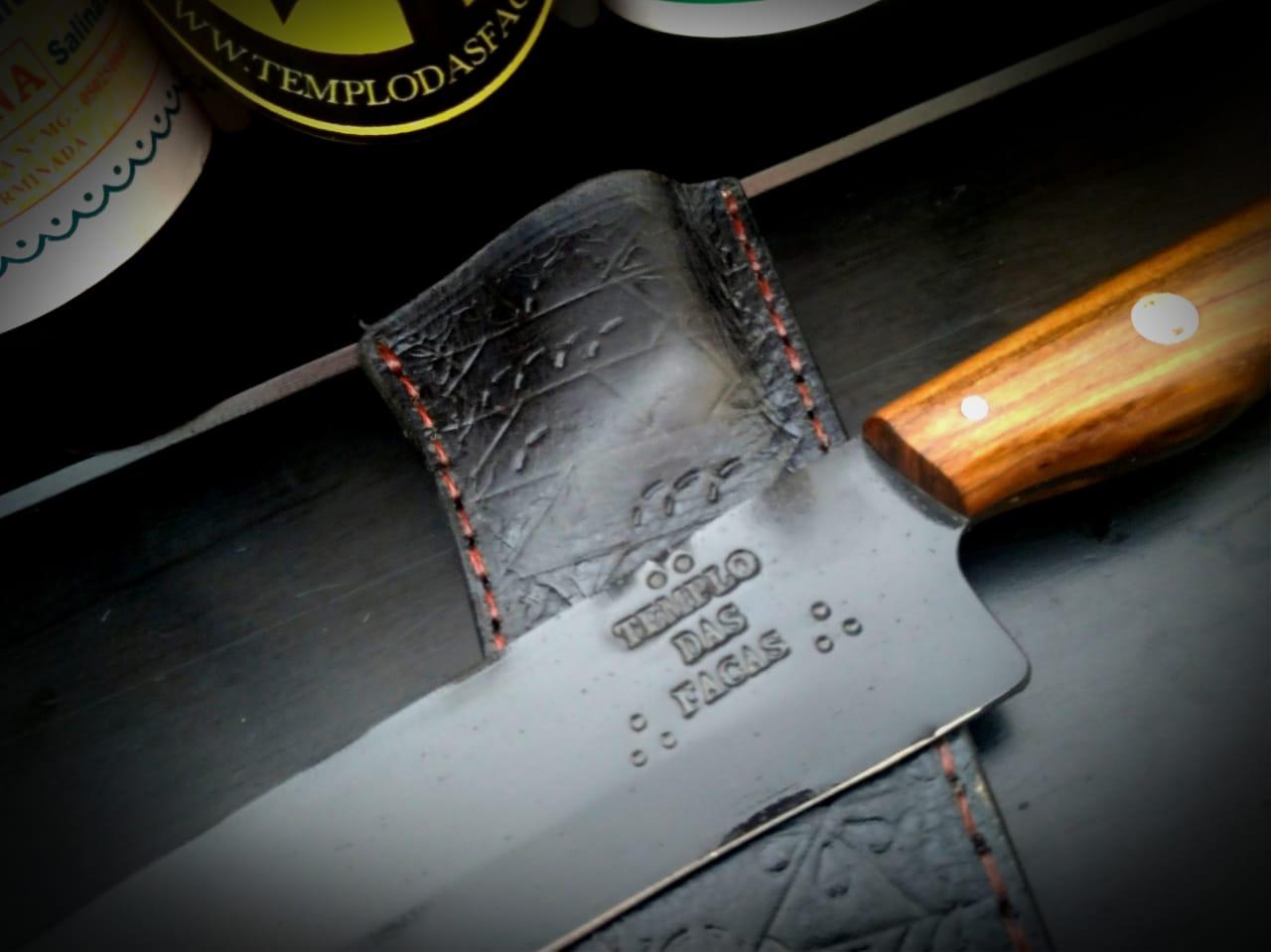 Faca artesanal negra de lida aço carbono 10 polegadas