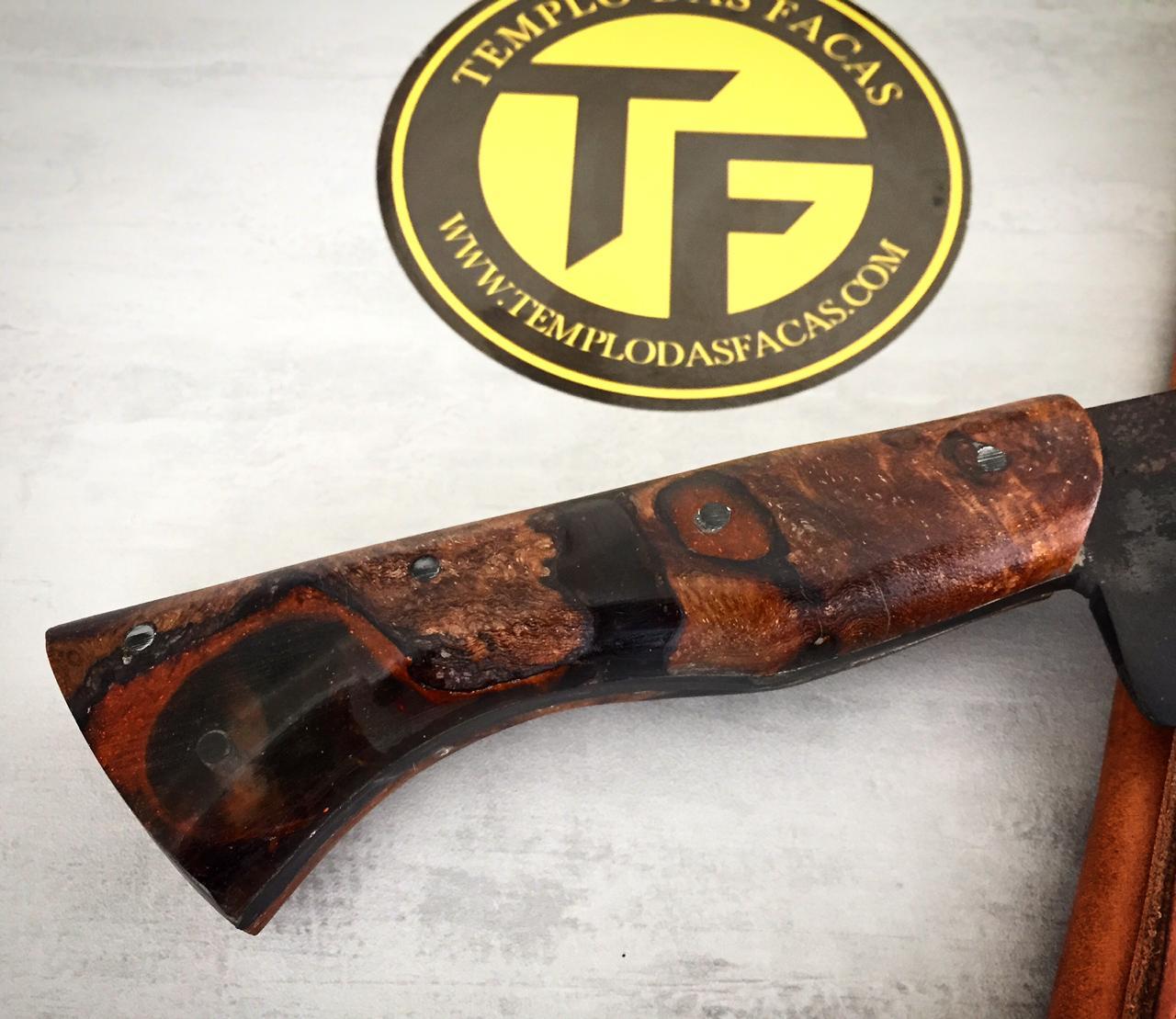 Faca artesanal negra de lida aço carbono 9 polegadas