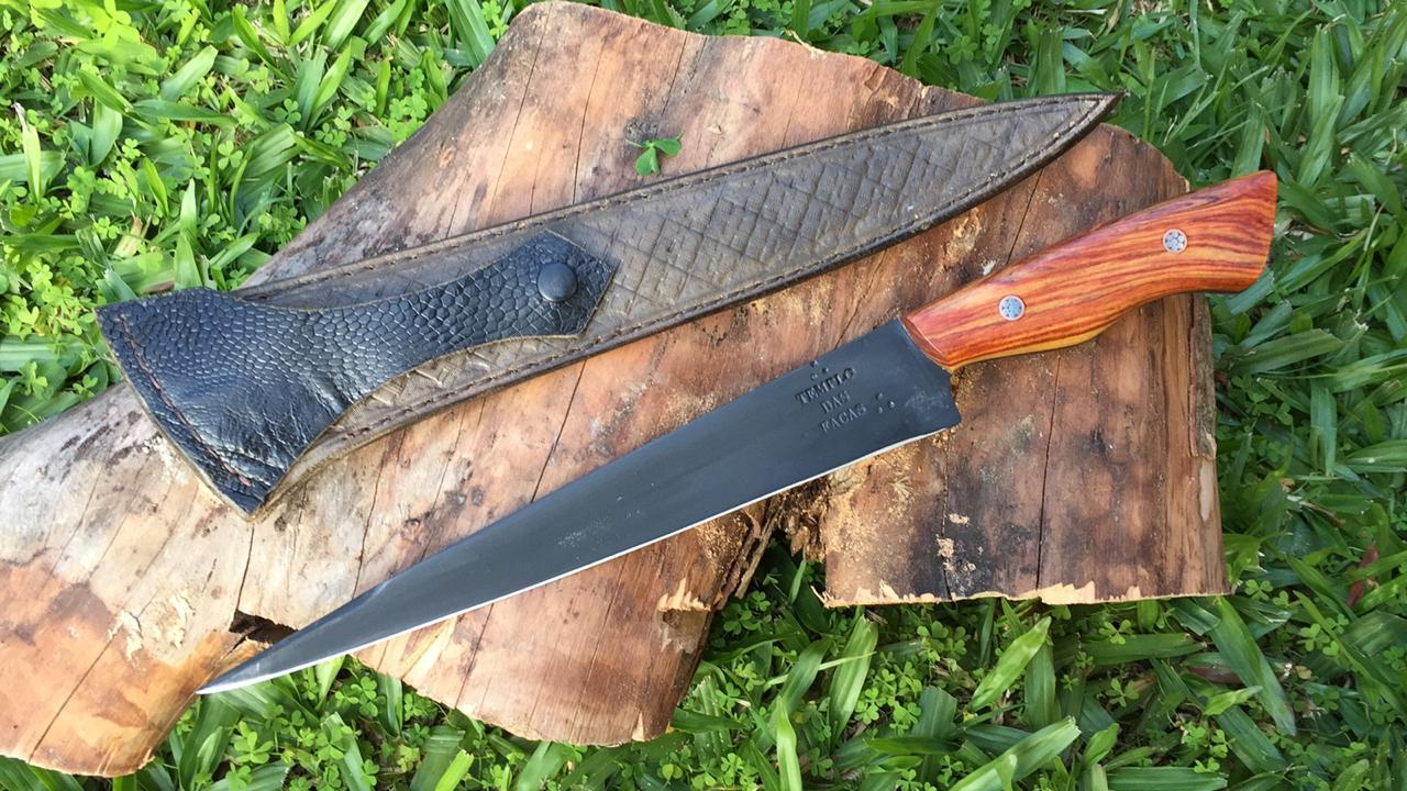 Faca artesanal negra de lida custom aço carbono 10 polegadas