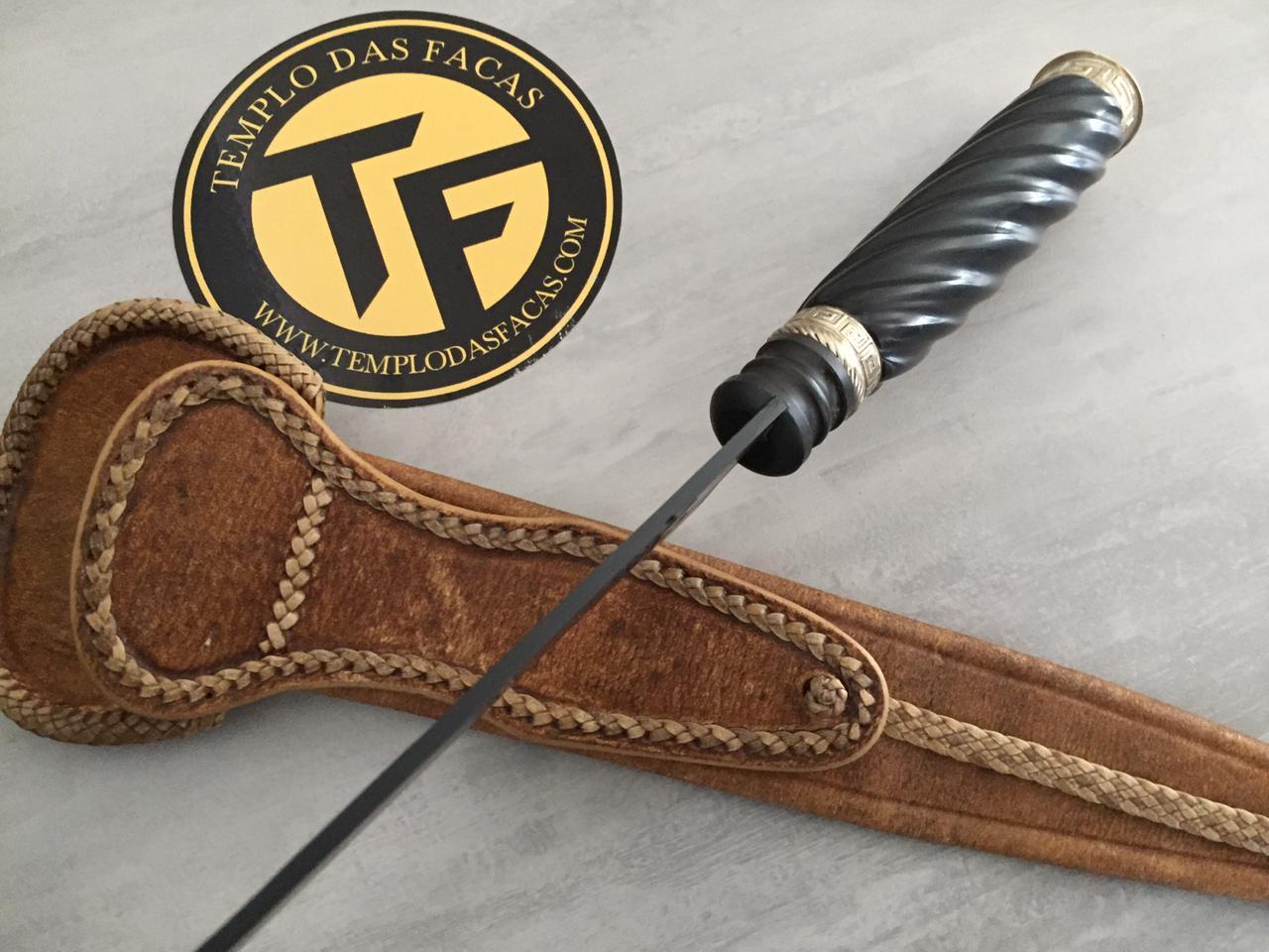 Faca artesanal negra forjada em aço carbono cabo em madeira e  alpaca 10 polegadas
