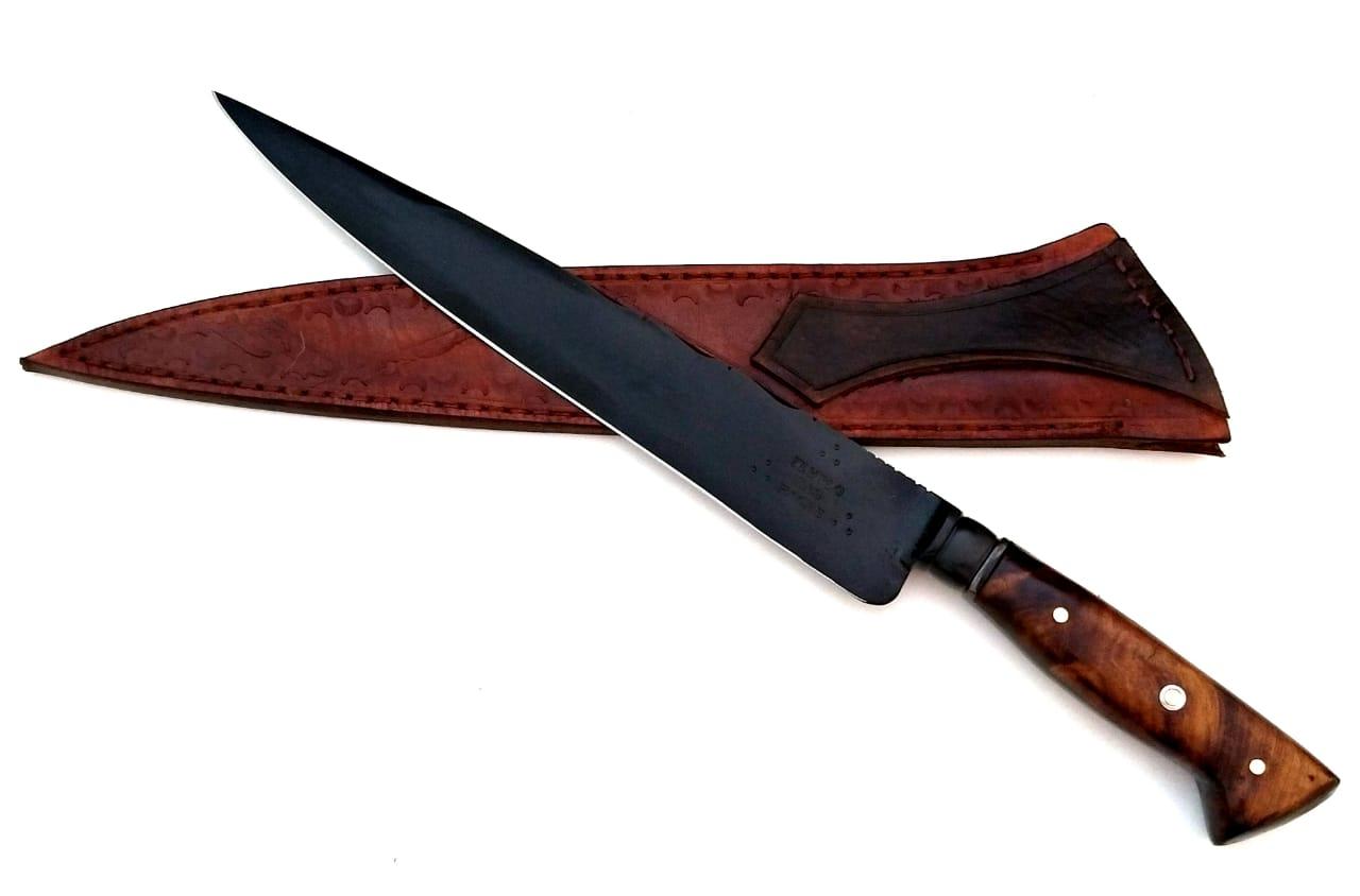 Faca artesanal negra forjada full tang 10 polegadas