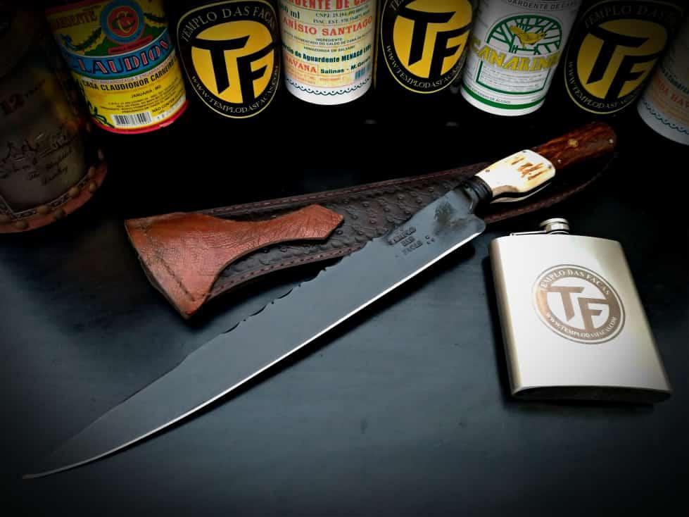 Faca artesanal negra forjada full tang 12 polegadas