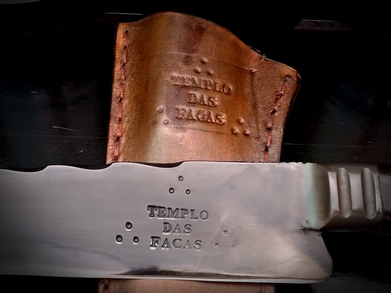 Faca artesanal negra forjada full tang 9 polegadas