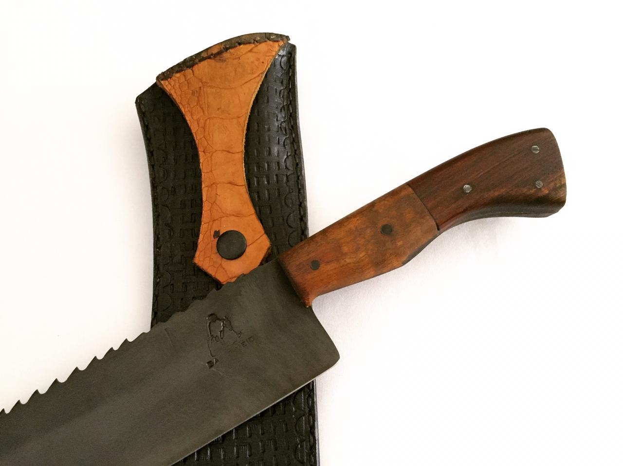 Faca artesanal negra galo veio de carnear em aço de serra 08 polegadas