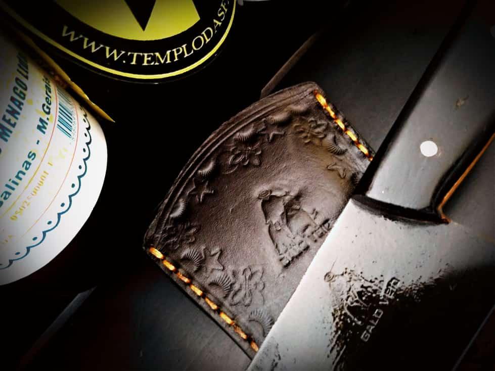 Faca artesanal negra galo veio de lida aço carbono 10 polegadas
