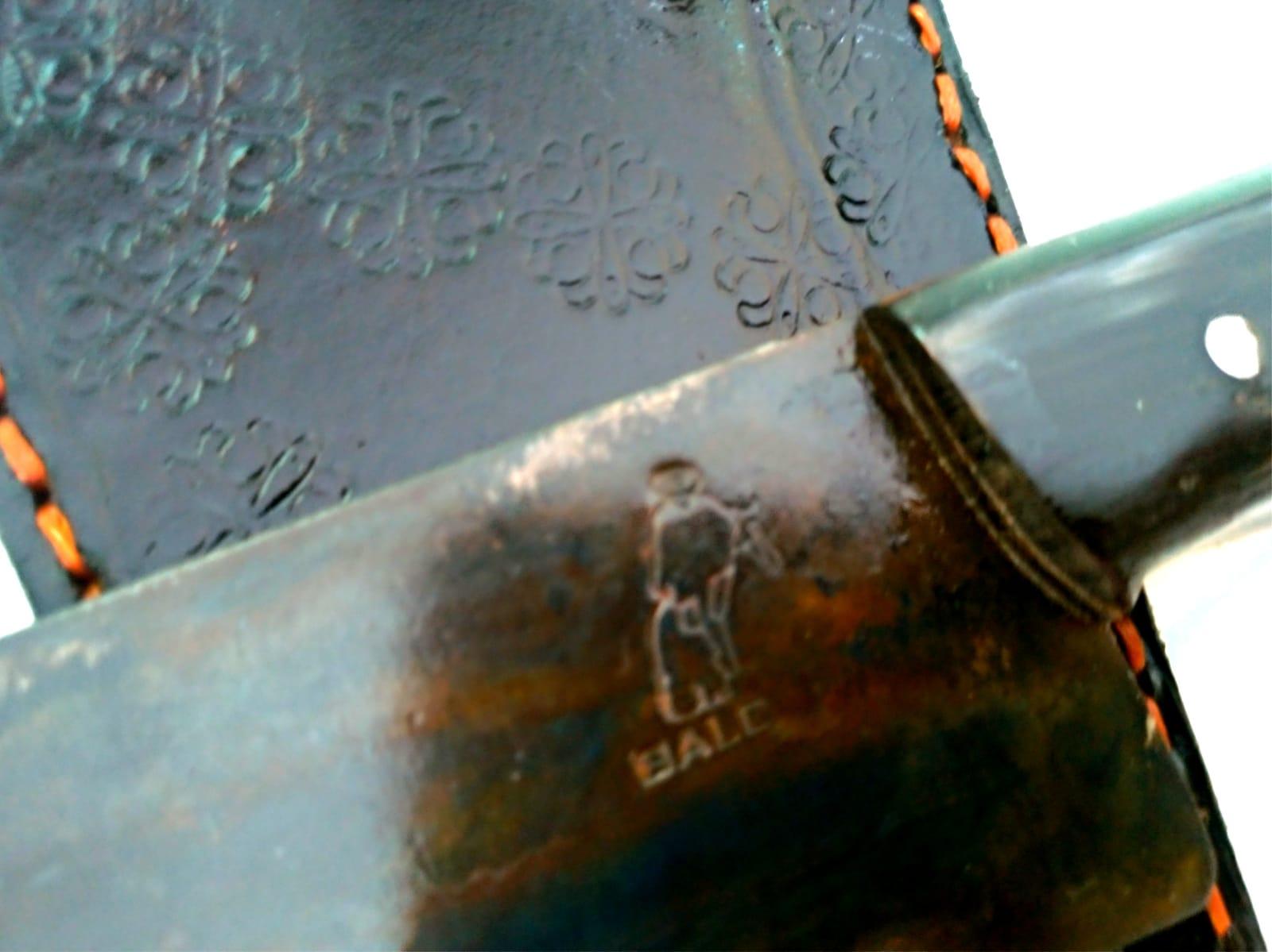 Faca artesanal negra galo veio de lida aço carbono 12 polegadas