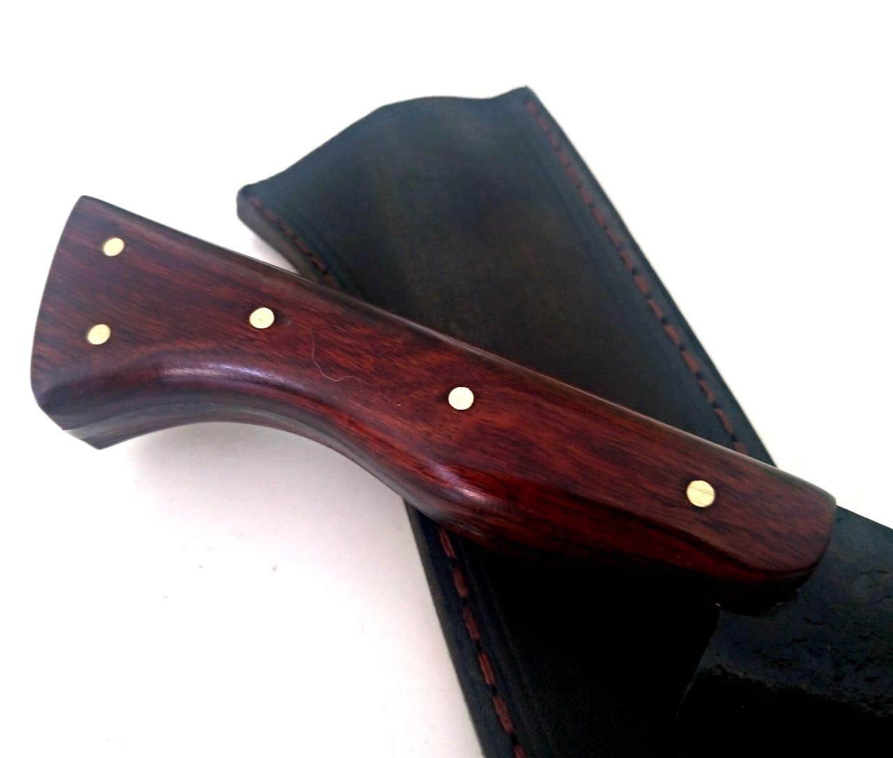 Faca artesanal negra galo veio de lida aço carbono 8 polegadas